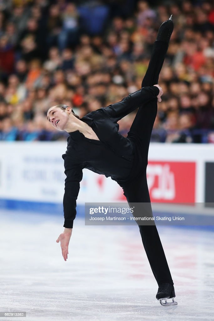 Jason Brown of the United States competes in the Men's Free Skating during day four of the World Figure Skating Championships at Hartwall Arena on April 1, 2017 in Helsinki, Finland.
