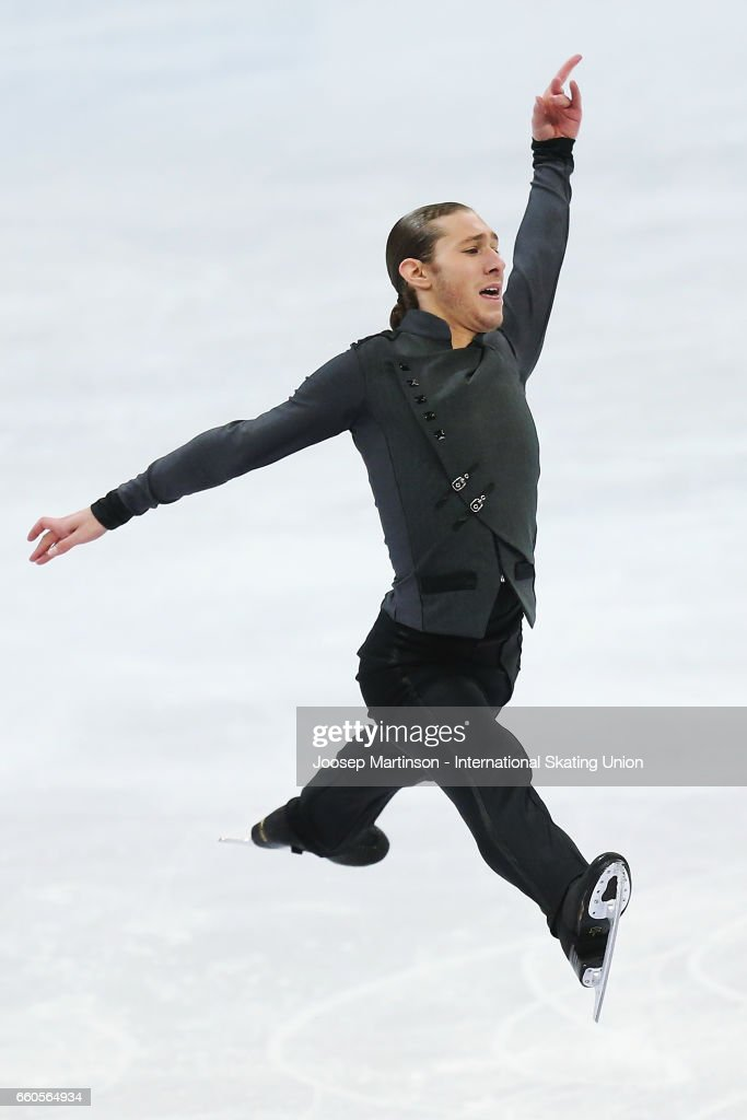 Jason Brown of the United States competes in the Men's Short Program during day two of the World Figure Skating Championships at Hartwall Arena on March 30, 2017 in Helsinki, Finland.