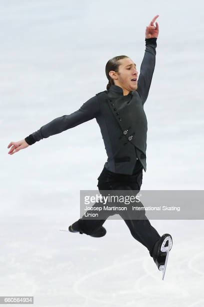 Jason Brown of the United States competes in the Men's Short Program during day two of the World Figure Skating Championships at Hartwall Arena on...