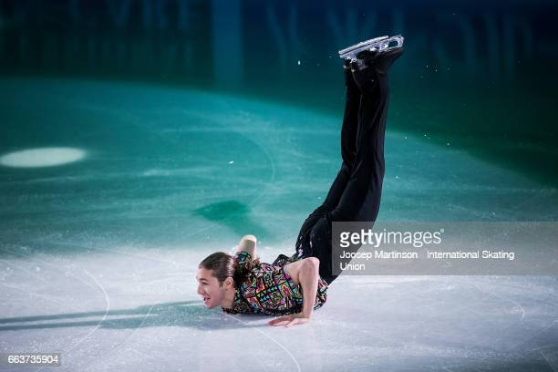 Jason Brown of the United States performs in the gala exhibition during day five of the World Figure Skating Championships at Hartwall Arena on April...