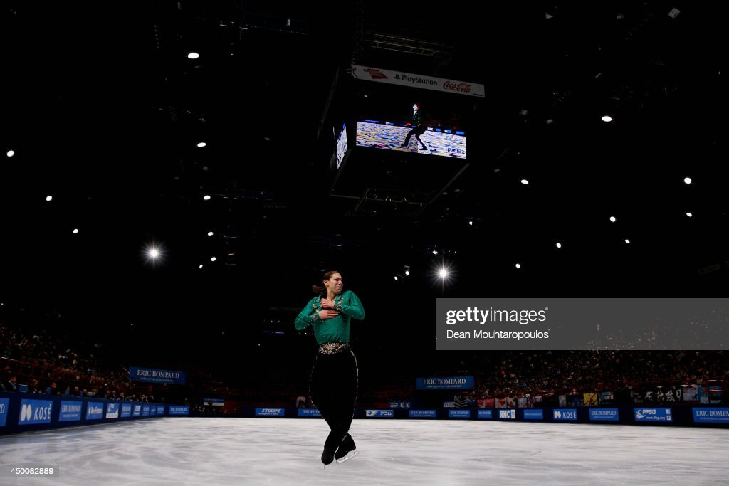 <a gi-track='captionPersonalityLinkClicked' href=/galleries/search?phrase=Jason+Brown+-+Figure+Skater&family=editorial&specificpeople=12450686 ng-click='$event.stopPropagation()'>Jason Brown</a> of the USA competes in the Mens Free Skating event during day two of Trophee Eric Bompard ISU Grand Prix of Figure Skating 2013/2014 at the Palais Omnisports de Bercy on November 16, 2013 in Paris, France.