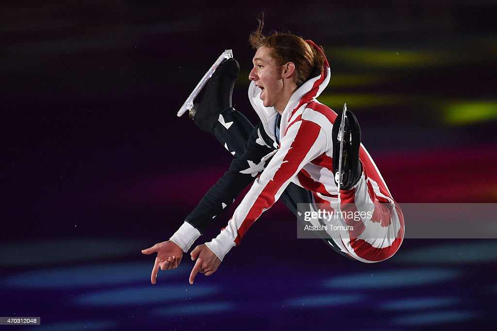 <a gi-track='captionPersonalityLinkClicked' href=/galleries/search?phrase=Jason+Brown+-+Figure+Skater&family=editorial&specificpeople=12450686 ng-click='$event.stopPropagation()'>Jason Brown</a> of the USA performs his routine in the exhibition on the day four of the ISU World Team Trophy at Yoyogi National Gymnasium on April 19, 2015 in Tokyo, Japan.