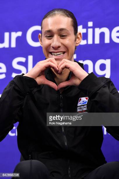 Jason Brown of United States reacts at the kiss and cry after the men's free skating during ISU Four Continents Figure Skating Championships...