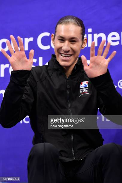 Jason Brown of United States waves at the kiss and cry after the men's free skating during ISU Four Continents Figure Skating Championships Gangneung...