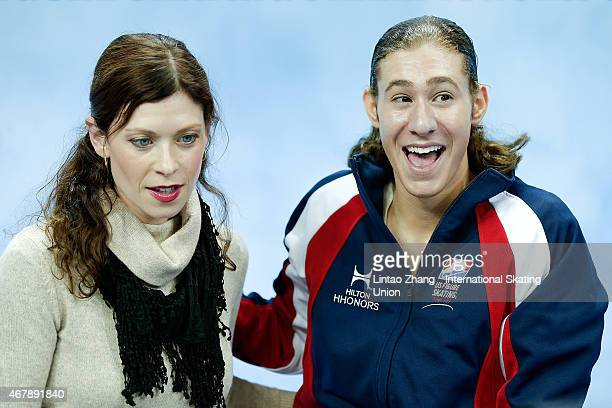 Jason Brown of United Status reacts after competing in the Ice DanceMan Free Skating Program on day four of the 2015 ISU World Figure Skating...