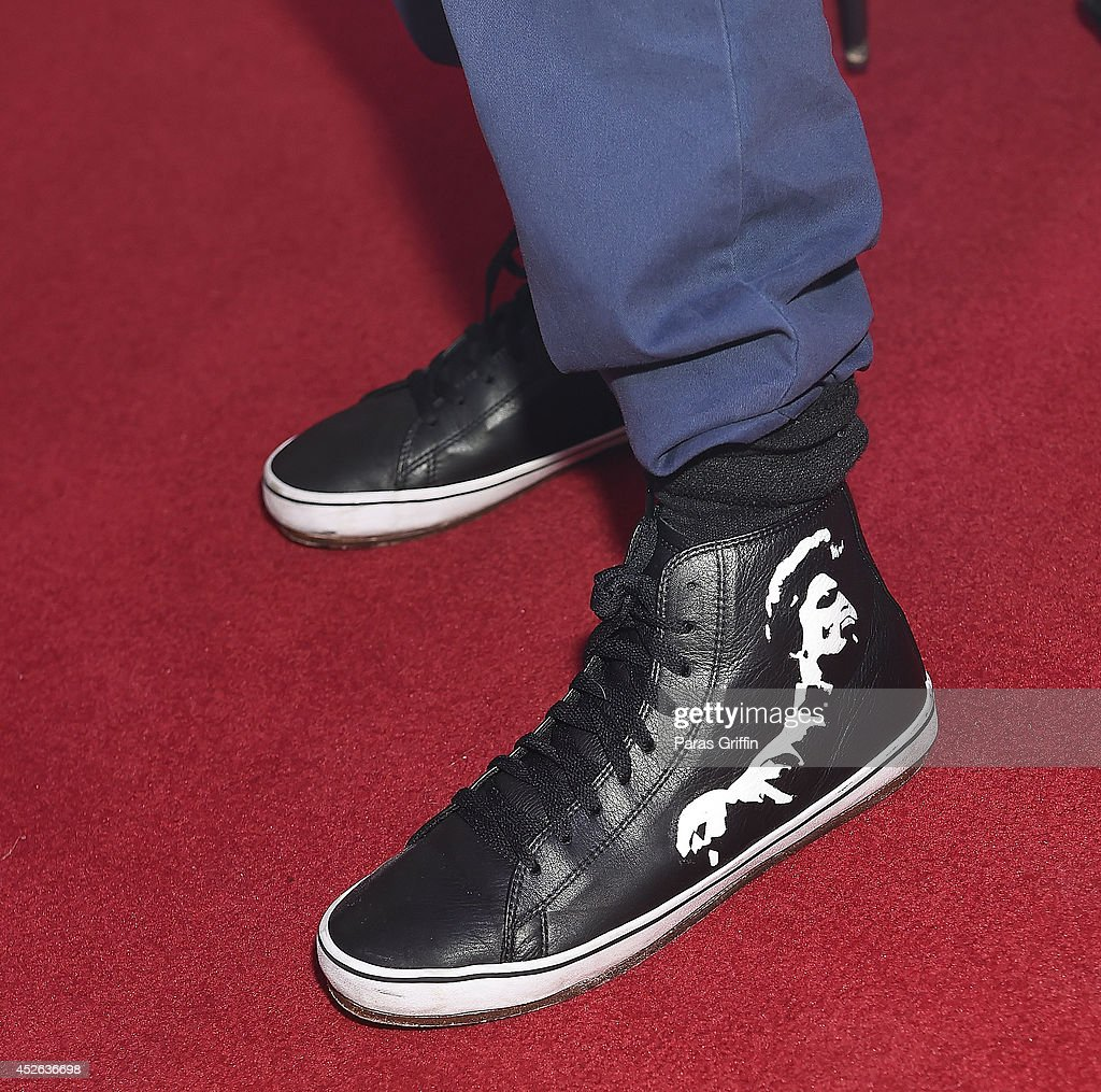 Jason Brown shows off his James Brown inspired shoes (shoe detail) at the Get On Up premiere at Regal 20 Cinemas on July 24, 2014 in Augusta, Georgia.