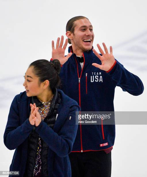 Jason Brown waves for a crowd during the Team USA Media Summit demo event on September 25 2017 in Park City Utah