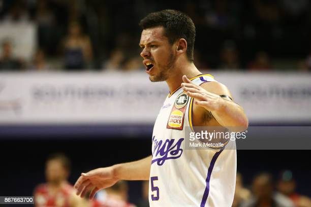 Jason Cadee of the Kings celebrates victory in the round four NBL match between the Illawarra Hawks and the Sydney Kings at Wollongong Entertainment...