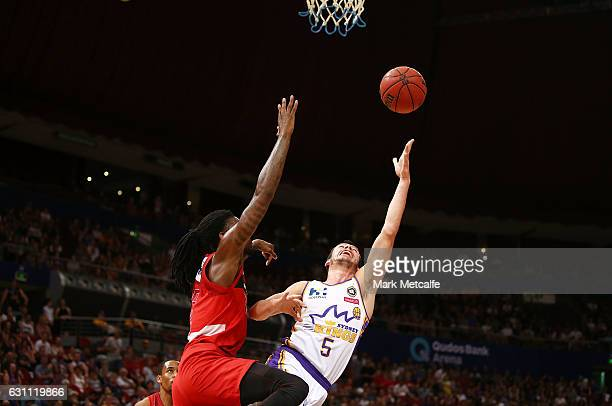Jason Cadee of the Kings shoots during the round 14 NBL match between the Sydney Kings and the Perth Wildcats at Qudos Bank Arena on January 7 2017...
