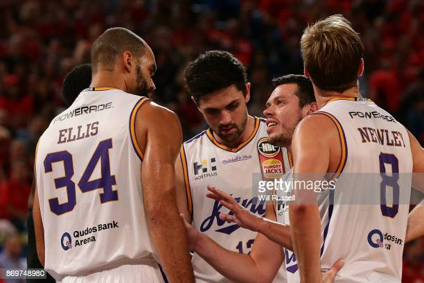Jason Cadee of the Kings speaks to his teammates during the round five NBL match between the Perth Wildcats and the Sydney Kings at Perth Arena on...