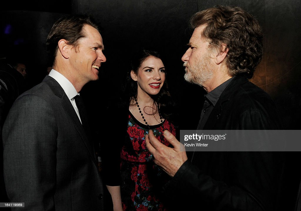 Jason Cassidy, President of Marketing, Open Road Films, writer/producer <a gi-track='captionPersonalityLinkClicked' href=/galleries/search?phrase=Stephenie+Meyer&family=editorial&specificpeople=5476076 ng-click='$event.stopPropagation()'>Stephenie Meyer</a> and producer Nick Wechsler talk at the after party for the premiere of Open Road Films' 'The Host' at Lure on March 19, 2013 in Los Angeles, California.