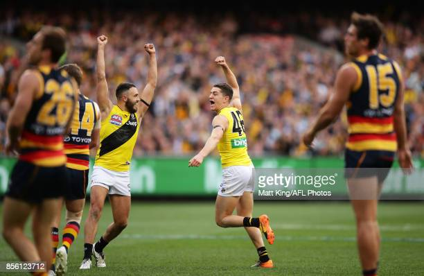 Jason Castagna of the Tigers celebrates a goal during the 2017 AFL Grand Final match between the Adelaide Crows and the Richmond Tigers at Melbourne...