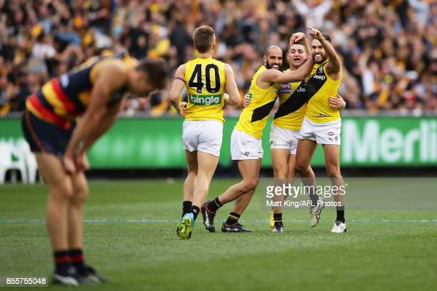 Jason Castagna of the Tigers celebrates a goal with team mates during the 2017 AFL Grand Final match between the Adelaide Crows and the Richmond...