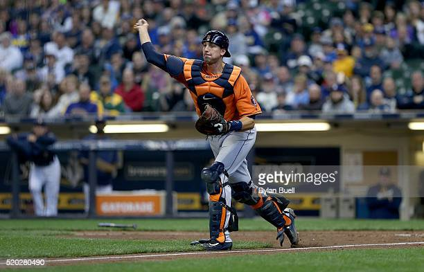 Jason Castro of Houston Astros throws to third base in the fifth inning during the game against the Milwaukee Brewers at Miller Park April 5 2016 in...