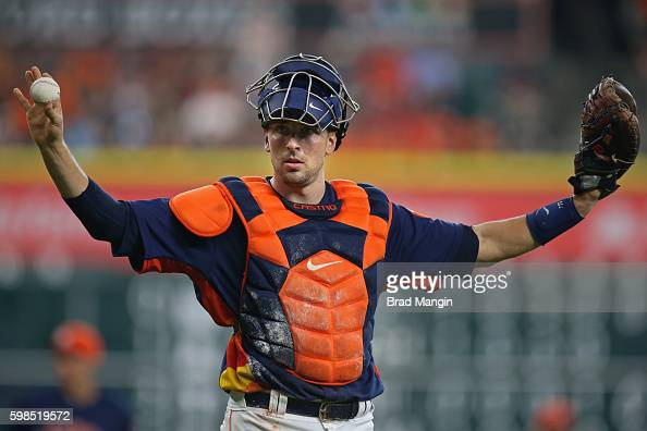 Jason Castro of the Houston Astros calls time out during the game against the Tampa Bay Rays at Minute Maid Park on Sunday August 28 2016 in Houston...