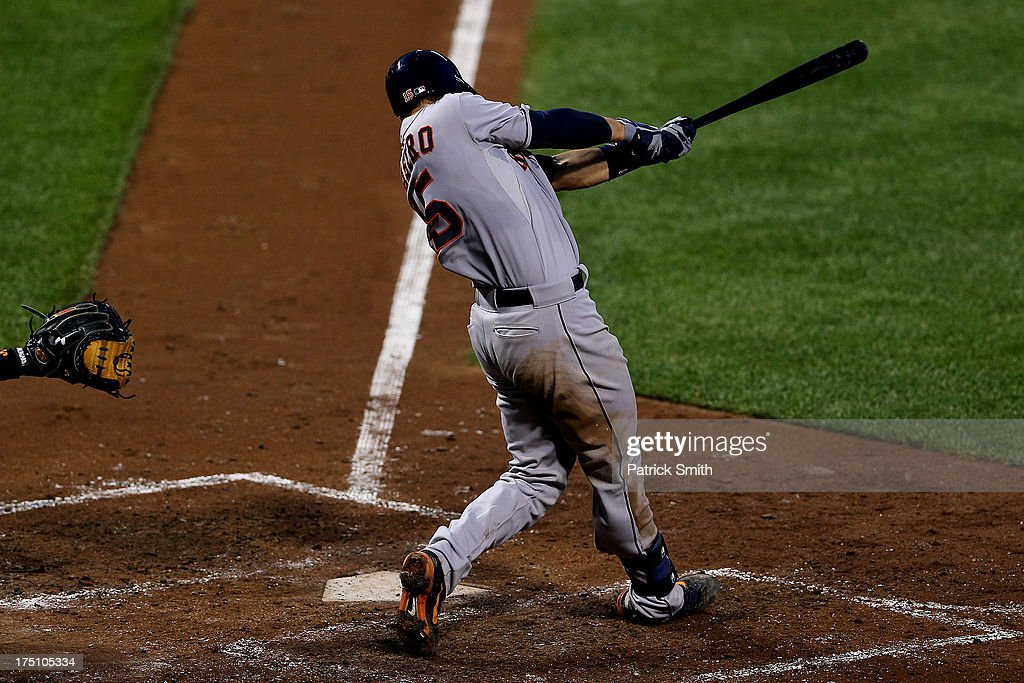 Jason Castro #15 of the Houston Astros hits a grand-slam in the fourth inning against the Baltimore Orioles at Oriole Park at Camden Yards on July 31, 2013 in Baltimore, Maryland. The Houston Astros won, 11-0.