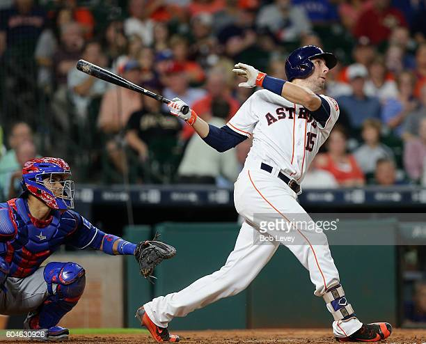 Jason Castro of the Houston Astros hits a home run in the sixth inning against the Texas Rangers at Minute Maid Park on September 13 2016 in Houston...