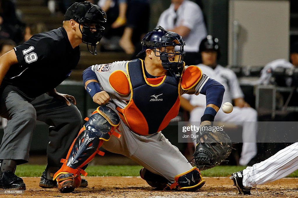 Jason Castro #15 of the Houston Astros is unable to make the catch on a pitch against the Chicago White Sox during the sixth inning on June 8, 2015 at U.S. Cellular Field in Chicago, Illinois.