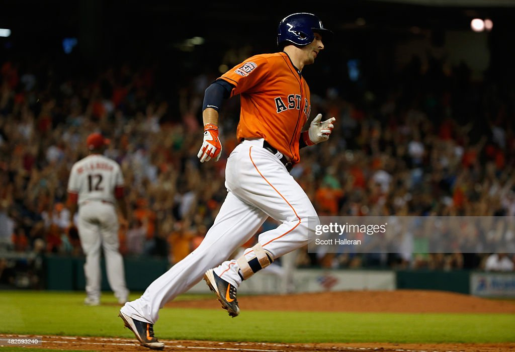 Jason Castro of the Houston Astros trots around the bases after hitting a threerun home run in the fifth inning off Rubby De La Rosa of the Arizona...