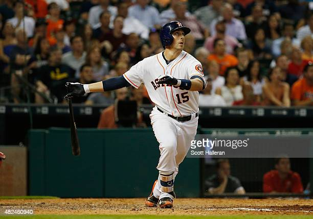 Jason Castro of the Houston Astros watches a threerun home run in the ninth inning off Fernando Salas to end the game and defeat the Los Angeles...