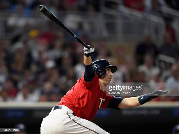 Jason Castro of the Minnesota Twins hits an RBI single against the San Diego Padres during the second inning of the game on September 12 2017 at...