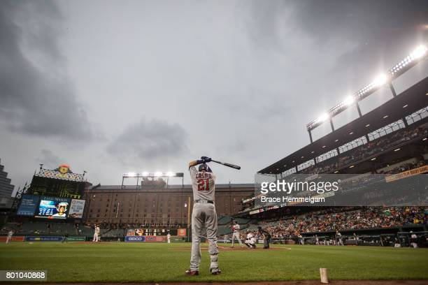 Jason Castro of the Minnesota Twins looks on against the Baltimore Orioles on May 23 2017 at Oriole Park at Camden Yards in Baltimore Maryland The...