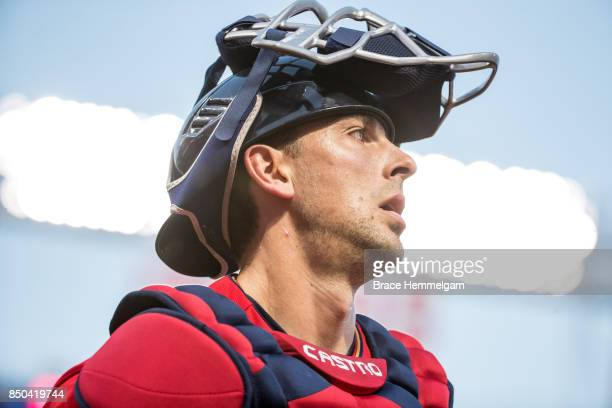 Jason Castro of the Minnesota Twins looks on against the San Diego Padres on September 12 2017 at Target Field in Minneapolis Minnesota The Twins...
