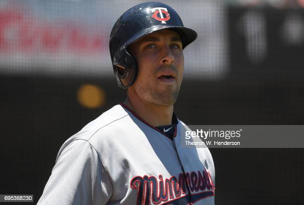 Jason Castro of the Minnesota Twins looks on from the ondeck circle against the San Francisco Giants in the top of the first inning at ATT Park on...