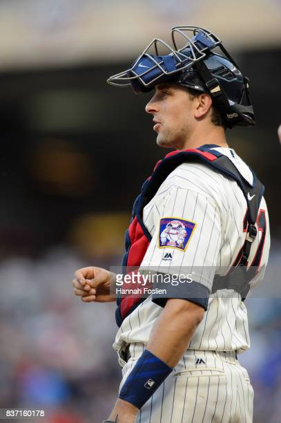 Jason Castro of the Minnesota Twins looks on while catching the game against the Arizona Diamondbacks on August 19 2017 at Target Field in...