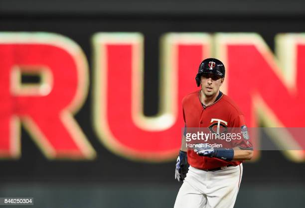Jason Castro of the Minnesota Twins rounds the bases after hitting a solo home run against the San Diego Padres during the fifth inning of the game...