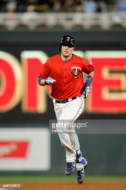 Jason Castro of the Minnesota Twins rounds the bases after hitting a home run against the San Diego Padres on September 12 2017 at Target Field in...