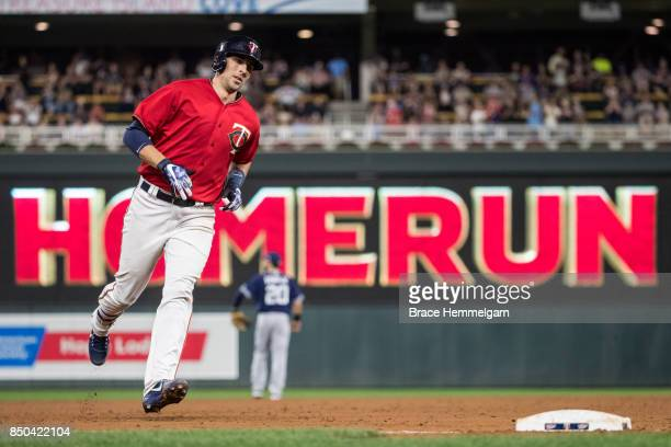 Jason Castro of the Minnesota Twins runs after hitting a home run against the San Diego Padres on September 12 2017 at Target Field in Minneapolis...