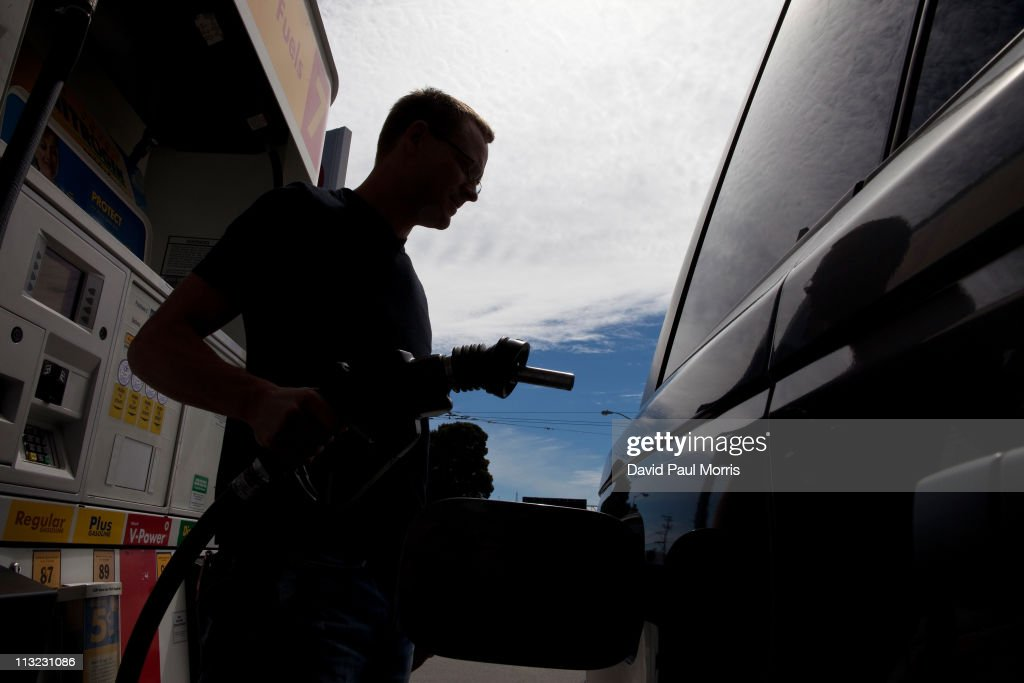 Jason Caya of San Francisco gets ready to fill his car with gasoline at a Shell gas station on April 27, 2011 in San Francisco, California. The average price for a gallon of regular gasoline in California increased 1.2 cents to $4.217 getting closer to the all time high of $4.588.