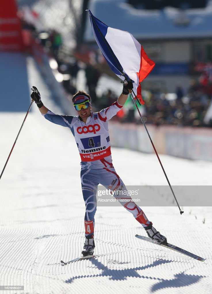 Jason Chappuis Lamy of France celebrates victory during the Men's Nordic Combined Team Sprint 2x7.5Km at the FIS Nordic World Ski Championships on March 2, 2013 in Val di Fiemme, Italy.