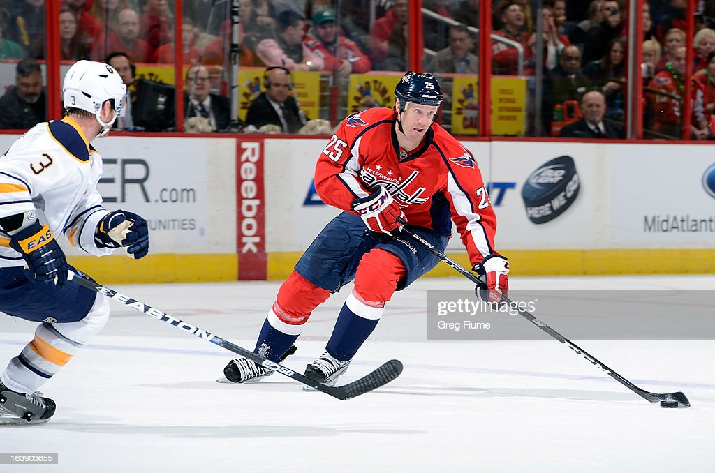 <a gi-track='captionPersonalityLinkClicked' href=/galleries/search?phrase=Jason+Chimera&family=editorial&specificpeople=211264 ng-click='$event.stopPropagation()'>Jason Chimera</a> #25 of the Washington Capitals brings the puck down the ice against the Buffalo Sabres at the Verizon Center on March 17, 2013 in Washington, DC.