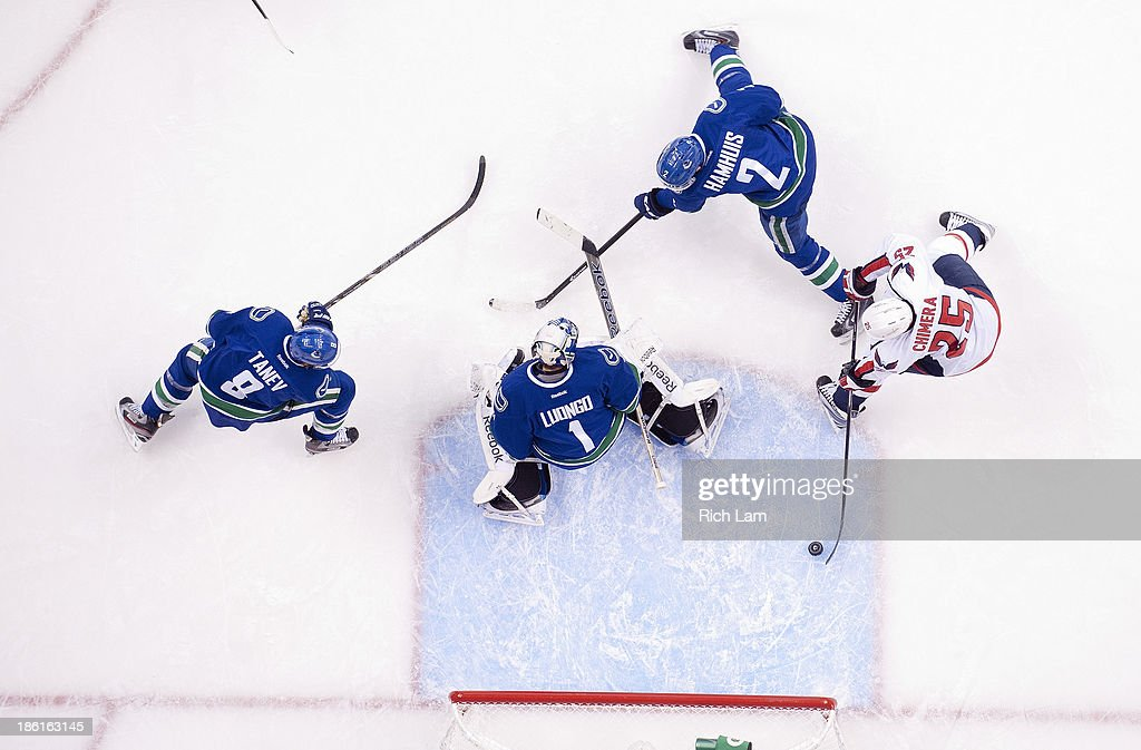 <a gi-track='captionPersonalityLinkClicked' href=/galleries/search?phrase=Jason+Chimera&family=editorial&specificpeople=211264 ng-click='$event.stopPropagation()'>Jason Chimera</a> #25 of the Washington Capitals directs the puck past goalie <a gi-track='captionPersonalityLinkClicked' href=/galleries/search?phrase=Roberto+Luongo&family=editorial&specificpeople=202638 ng-click='$event.stopPropagation()'>Roberto Luongo</a> #1 of the Vancouver Canucks for a goalie during the first period in NHL action on October 28, 2013 at Rogers Arena in Vancouver, British Columbia, Canada. Chris Tanev #8 and <a gi-track='captionPersonalityLinkClicked' href=/galleries/search?phrase=Dan+Hamhuis&family=editorial&specificpeople=204213 ng-click='$event.stopPropagation()'>Dan Hamhuis</a> #2 of the Vancouver Canucks try to help defend on the play.
