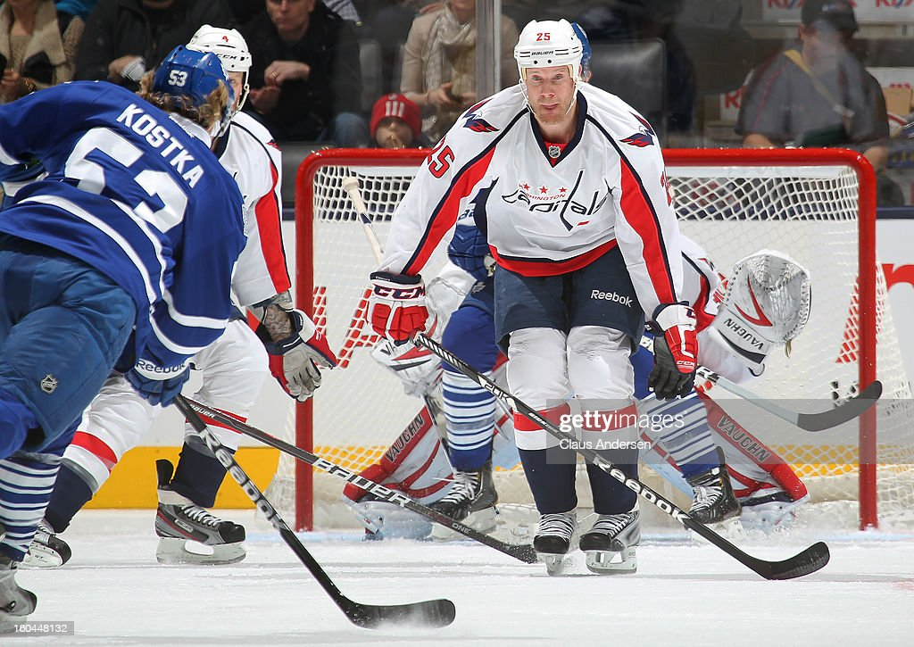 Jason Chimera #25 of the Washington Capitals looks to block a shot by Michael Kostka #53 of the Toronto Maple Leafs in a game on January 31, 2013 at the Air Canada Centre in Toronto, Canada. The Maple Leafs defeated the Capitals 3-2.