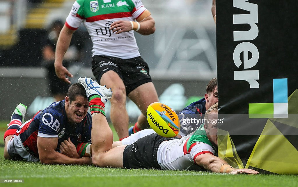 Jason Clark of the South Sydney Rabbitohs looses the ball on the try line during the 2016 Auckland Nines match between the Sydney Roosters and the South Sydney Rabbitohs at Eden Park on February 6, 2016 in Auckland, New Zealand.