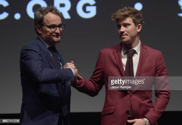 Jason Clarke and Garrett Hedlund speak onstage at the Q A following the screening of 'Mudbound' at the 55th New York Film Festival at Alice Tully...