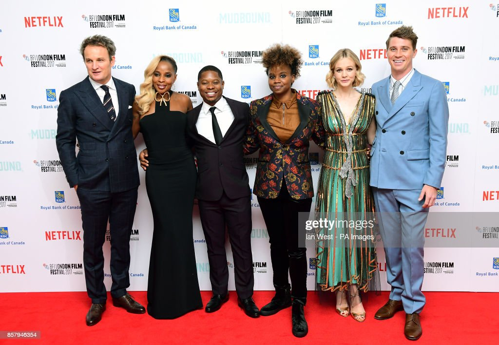 Jason Clarke, Mary J Blige, Jason Mitchell, Dee Rees, Carey Mulligan and Garrett Hedlund attending the Premiere of Mudbound as part of the BFI London Film Festival, at The Odeon Leicester Square, London.