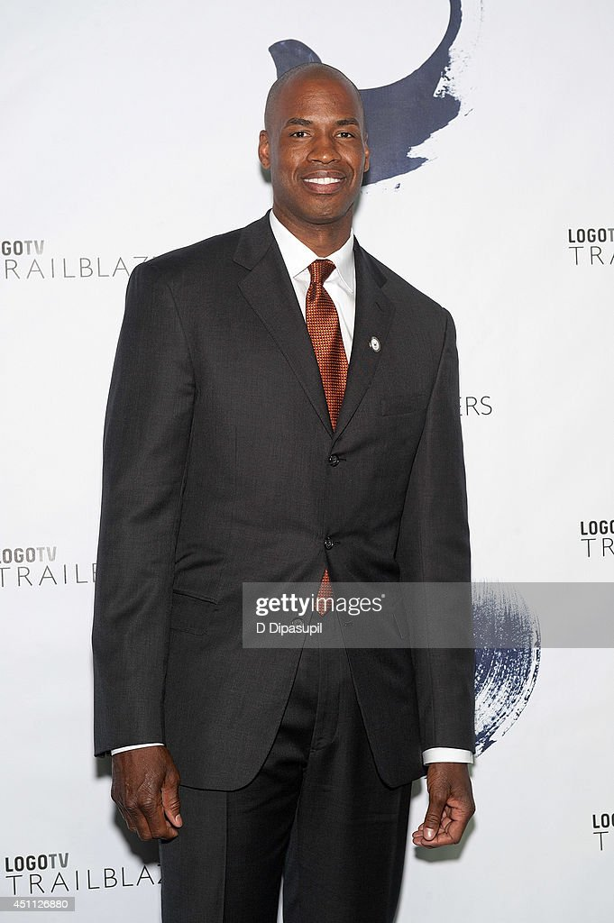 <a gi-track='captionPersonalityLinkClicked' href=/galleries/search?phrase=Jason+Collins+-+Basketball+Player&family=editorial&specificpeople=201926 ng-click='$event.stopPropagation()'>Jason Collins</a> attends LOGO TV's 1st Annual Trailblazers event at the Cathedral of St. John the Divine on June 23, 2014 in New York City.