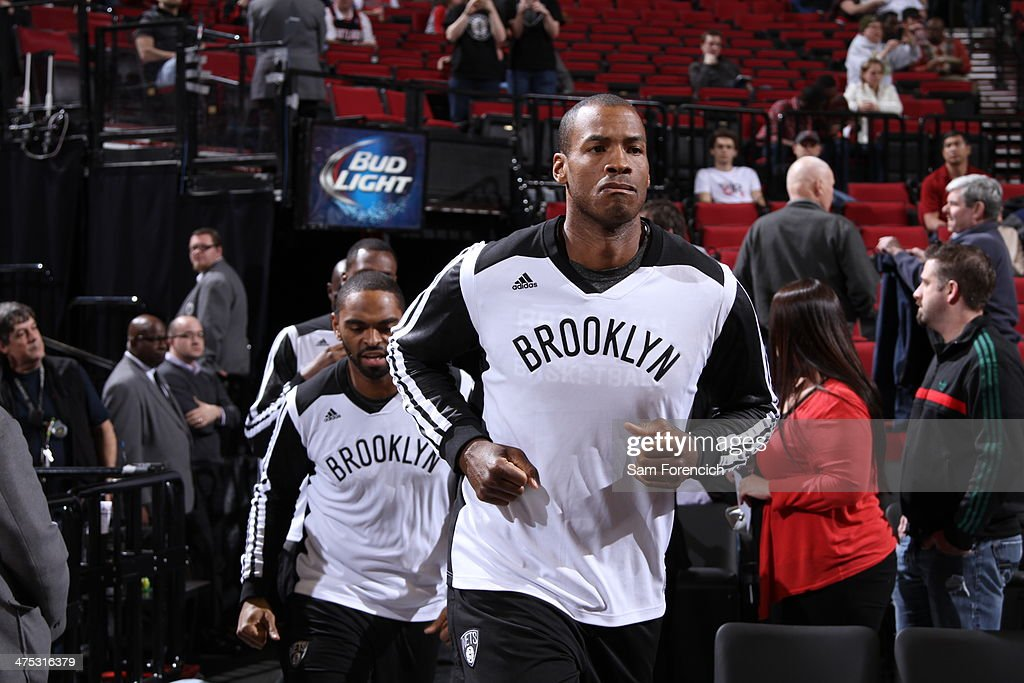 <a gi-track='captionPersonalityLinkClicked' href=/galleries/search?phrase=Jason+Collins+-+Basketball+Player&family=editorial&specificpeople=201926 ng-click='$event.stopPropagation()'>Jason Collins</a> #98 of the Brooklyn Nets runs out before the game against the Portland Trail Blazers on February 26, 2014 at the Moda Center Arena in Portland, Oregon.