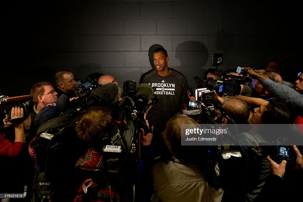 Jason Collins #98 of the Brooklyn Nets speaks with the media prior to a game against the Denver Nuggets at Pepsi Center on February 27, 2014 in Denver, Colorado. Collins is the first openly gay athlete to play in one of the four major sports in the United States. Collins will wear #98 in honor of Matthew Sheppard who was killed as part of a hate crime in 1998 near Laramie, Wyoming. Shepard's parents are expected to be in the crowd tonight.