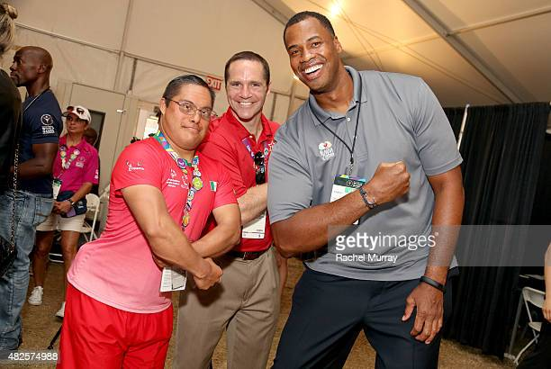 Jason Collins visits with Special Olympics Athletes at The Starkey Hearing Foundation Healthy Hearing Clinic at USC on July 31 2015 in Los Angeles...