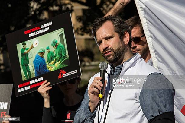 Jason Cone Executive Director of the US division of Doctors Without Borders/Medecins Sans Frontieres speaks at a gathering in Union Square to...