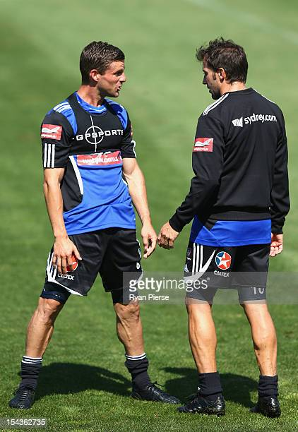 Jason Culina and Alessandro Del Piero of Sydney FC talk during a Sydney FC Training Session at Macquarie Uni on October 19 2012 in Sydney Australia