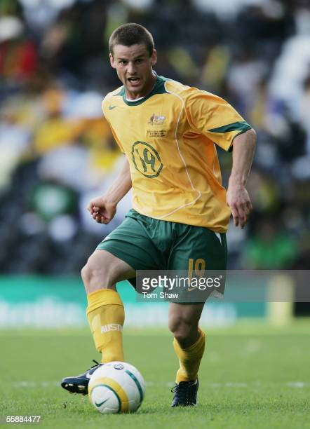 Jason Culina of Australia in action during the Australia v Jamaica International friendly match at Craven Cottage on October 9 2005 in London England