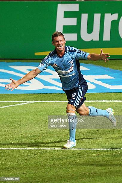 Jason Culina of Sydney celebrates after scoring a goal during the round 15 ALeague match between the Perth Glory and Sydney FC at nib Stadium on...