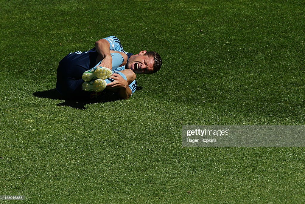 Jason Culina of Sydney FC reacts after a heavy tackle during the round 10 A-League match between Wellington Phoenix and Sydney FC at Westpac Stadium on December 9, 2012 in Wellington, New Zealand.