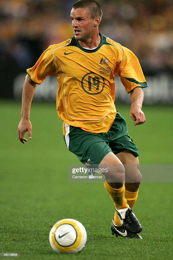 Jason Culina of the Socceroos in action during the second leg of the 2006 FIFA World Cup qualifying match between Australia and Uruguay at Telstra Stadium November 16, 2005 in Sydney, Australia.